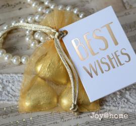 Zakje, chocolade hartjes & kaartje Best wishes