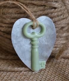 Zinken hartje & sleuteltje in diverse kleuren