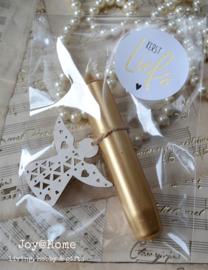 Zakje met kaars, engel & kerststicker in diverse combinaties