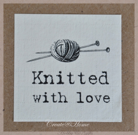 Sticker linnenpapier  Knitted with love