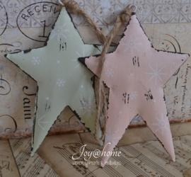 Zink ster hangend in 2 kleuren. Clayre & Eef