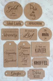 Dikke bruin kraft labels in verschillende teksten/vormen