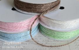 Jute touw 2 draads in 5 kleurtjes