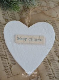 Houten hartje Merry Christmas