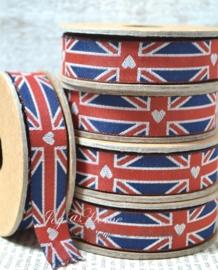 Kartonnen spoel met lint. Engelse vlag