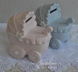 Lichtroze spaarpot kinderwagen Clayre & Eef