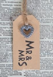 Label Mr & Mrs in 6 kleuren, met of zonder bedelhartje