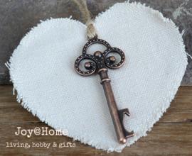 Canvas hart sleutel flesopener