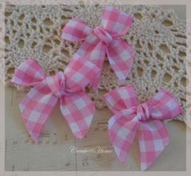 Strikje stof, roze/wit