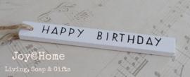 Label hout wit Happy Birthday