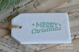 Houten label Merry Christmas in 8 kleuren