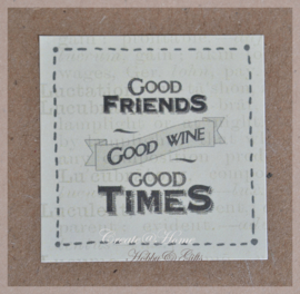 Vintage sticker Good friends good wine good times
