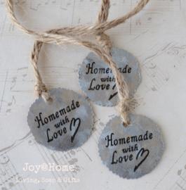 Zinken label rond Homemade with Love