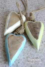 Houten hart hanger epoxy in 3 kleuren