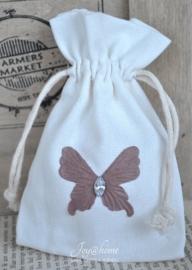 Katoenen zakje met een vlinder of bloem in vele kleurtjes