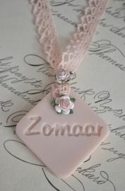 Zeep label Zomaar met roosjes & kant in vele kleurtjes