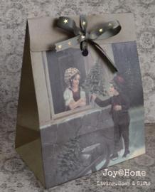 Vintage cadeau kerst tasje met sterren lintje