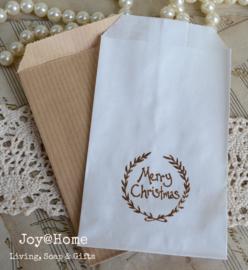 Papieren kraft cadeauzakje bruin of wit met stempel, keuze uit 16