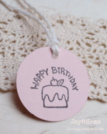 Ronde label, stempel Happy Birthday in vele kleurtjes