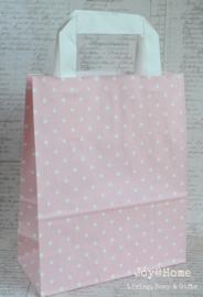 Tasje papier roze/wit