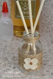 flesje geurolie stokjes, sandalwood & bergamot