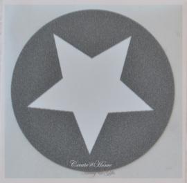 Sticker ster grijs/wit