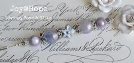 Brocante hoedenspeld lila/wit zilver