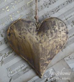 Metalen hartje oud goud