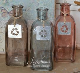 Vaasje glas zinken label