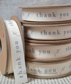 Kartonnen spoel met lint. Thank you, crème/grijs
