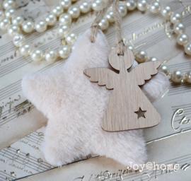 Crèmekleurige pluis ster met engel