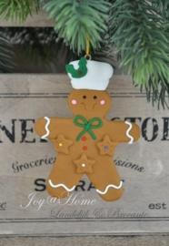 Kersthanger gingerbread man groen