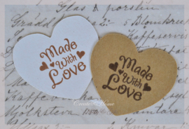 Kraft sticker hartje stempel Made with love