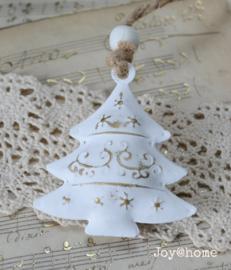Kerstboom zink, wit/goud met kraal