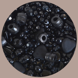 Kralen mix, zwart