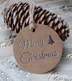 Ronde kraft label Merry Christmas