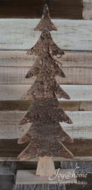 Houten Kerstboom met boomschors en koperen glitters