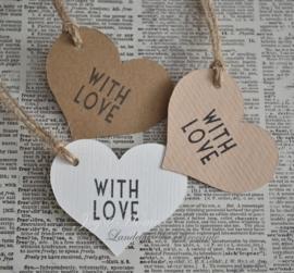 Label hartje With love in vele kleurtjes
