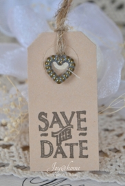 Label Save the Date in 7 kleuren, met of zonder bedelhartje