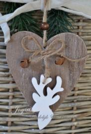 Bruin houten hartje met belletjes & rendier