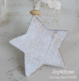 Houten ster met kraal & kantje
