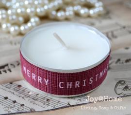 Waxinelichtje met Kerstlint naar keuze