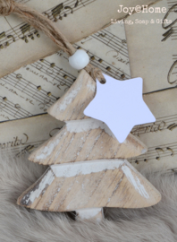 Houten kerstboom met sterlabel eigen tekst in vele kleurtjes
