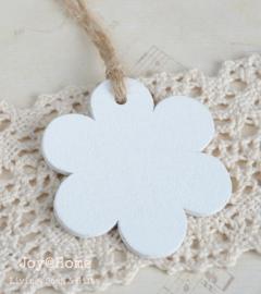 Houten bloem wit