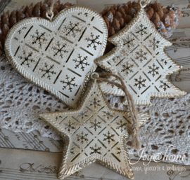 Vintage metalen kerstboom, hartje of ster