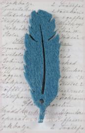 Veertje vilt oudblauw