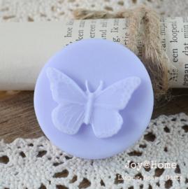 Zeepje rond met vlinder, lila
