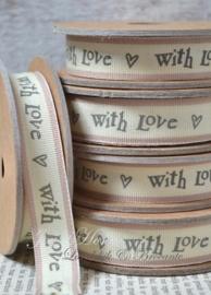 Kartonnen spoel met lint. With love, bruinroze/crème