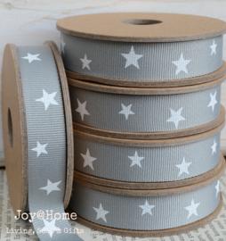 Kartonnen spoel met lint, sterren grijs/wit