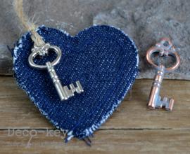 Jeans hartje met bedel sleuteltje